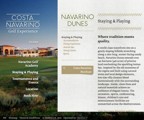 Costa Navarino Golf Experience — Website 4