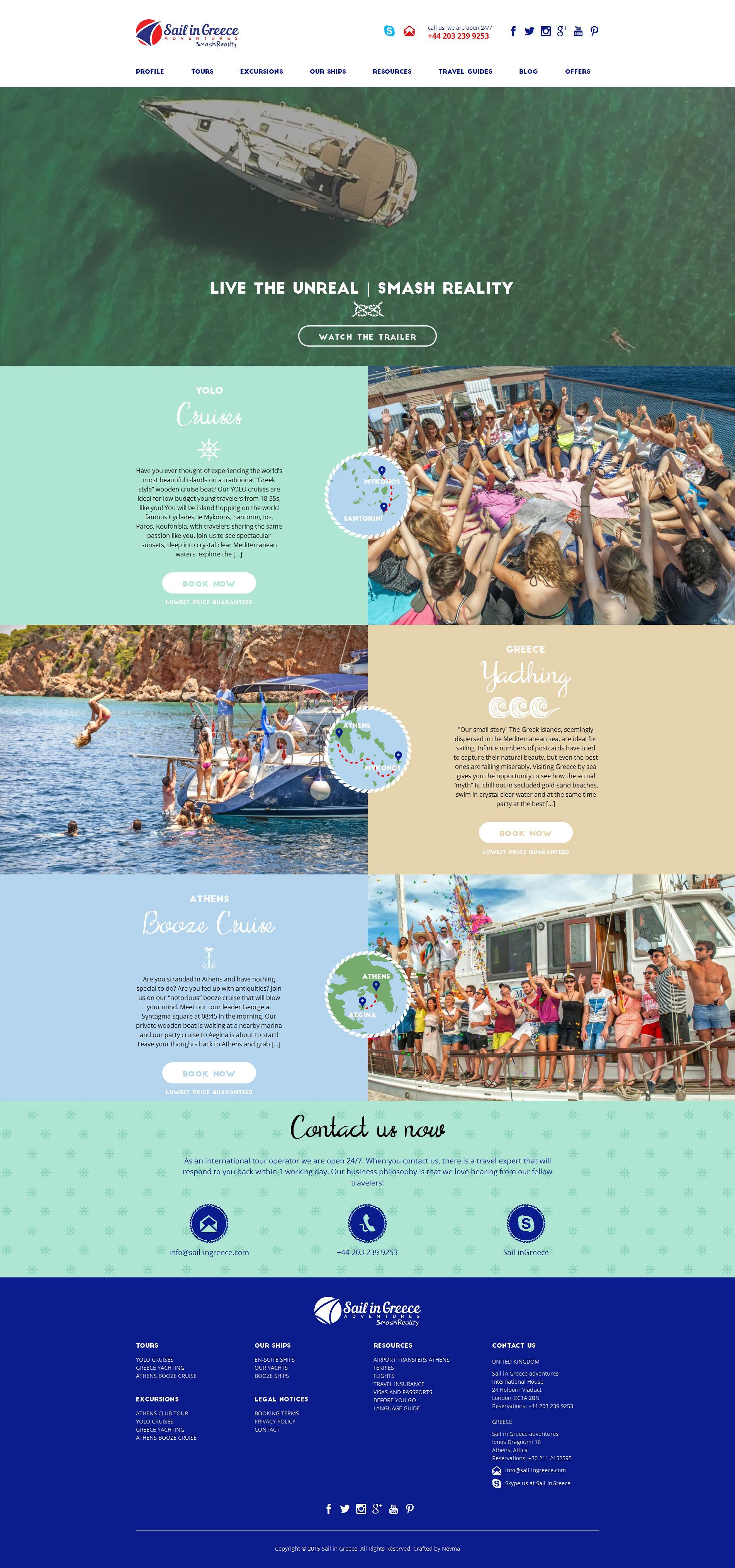 SailInGreece - κατασκευή ιστοσελίδων Nevma
