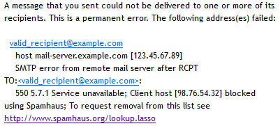 Αποτυχία λόγω black listing του mail server.