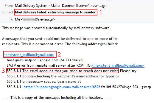 NDR - Ανύπαρκτο email παραλήπτη
